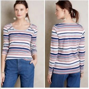 Postmark Striped Joliette Ribbed Shirt Top Small